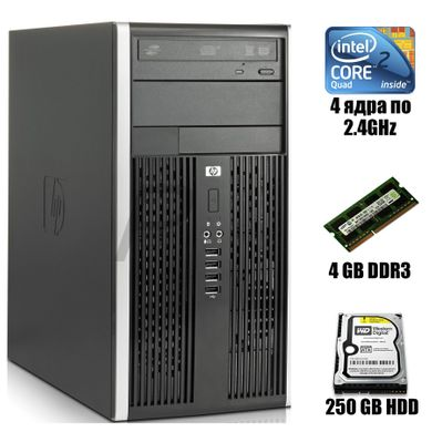 HP Compaq 6000 Pro MT : Intel Core 2 Quad Q6600 4x2.4GHz / 4 GB DDR3 / 250 GB HDD, 4 GB, 250 GB HDD