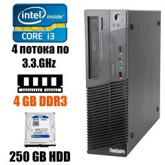 Lenovo ThinkCentre m71e SFF: Intel Core i3-2120 2(4)x3.3GHz / 4GB DDR3 / 250GB HDD / DVD-RW