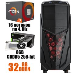 Xigmatech Mach III MT : AMD Ryzen 7 2700 8(16)x4.1 GHz / 32 GB DDR4 / 480 GB SSD / 1000 GB HDD / nVidia GeForce GTX 1070 8 GB